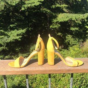 Yellow Suede Sam Edelman open toe heels!